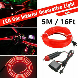16ft Auto Car Interior Atmosphere Wire Strip Light Led Decor Lamp Accessories