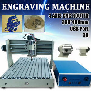 3040 Usb 4 Axis Cnc Router Engraver Wood Milling Drilling 3d Carving Machine rc
