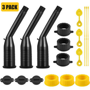 3 pack Gas Can Replacement Spout Kit pour Nozzle With Gasket Stopper Caps usa
