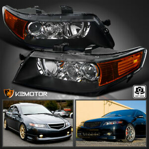 For 2004 2005 Acura Tsx Black Projector Headlights Lamps Left Right 04 05 Pair