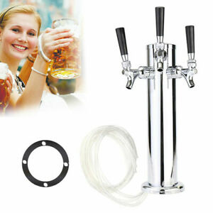 Triple 3 Tap Faucet Draft Beer Tower Stainless Steel Homebrew For Kegerator Usa