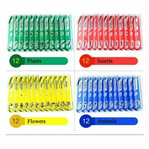 48 Kids Plastic Prepared Microscope Slides Of Animals Insects Plants Tools Kit