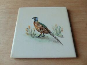 Architectural Antique Maw Tile 4 25 Inch Painted Pheasant Bird