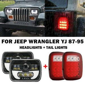 For 87 95 Jeep Wrangler Yj 7x6 Led Headlights High Low Drl Beam Tail Lights Kit