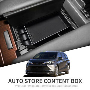 Central Armrest Storage Box For Toyota Sienna 2021 Car Accessories Console Black