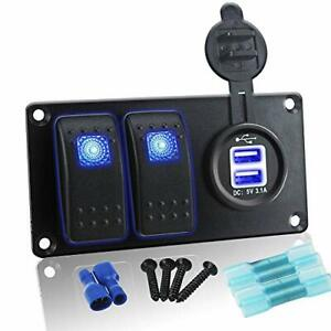 Iztoss Waterproof Dc 12v 24v Aluminum Panel With Blue Rocker Switch And 3 1a