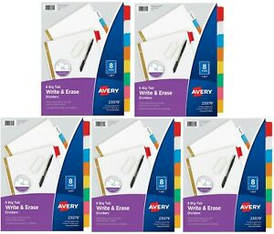 Avery 8 tab Binder Dividers 5 Set Write Erase Multicolor Big Tabs 3 hole Punch