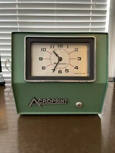 Acroprint 200r4 Electric Time Recorder Employee Punch Clock No Key