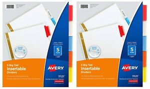 Avery 5 tab Binder Dividers 2 Set Insertable Multicolor Big Tabs 3 hole Punched