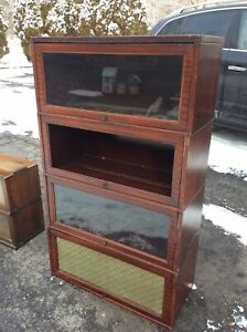 8 Vintage Barrister Bookcase Sections 4 Wood 4 Metal Good
