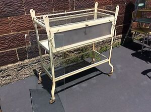 Antique Doctors Office Metal Glass Medical Cabinet On Wheels Very Good