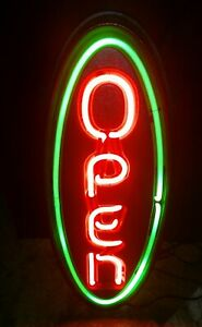 Fallon Vertical Oval Lighted Neon Open Sign Business Commercial Large Bright