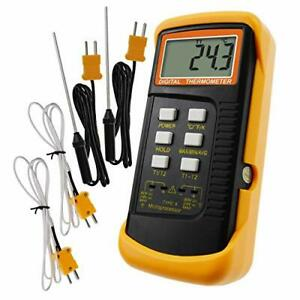 Digital 2 Channels K type Thermometer W 4 Thermocouples Wired Stainless St