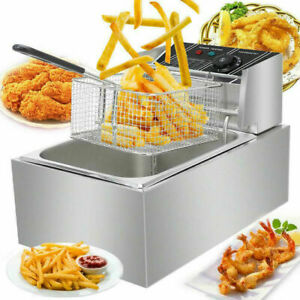 6l Commercial Electric Deep Fryer Basket Chip Cooker Stainless Steel Kitchen
