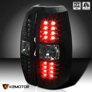 For 2007 2012 Chevy Avalanche Glossy Black Smoke Led Brake Lamps Tail Lights