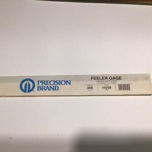 Precision Brand Feeler Gauge Tempered And Polished 12 X 1 2 X 005 Nos