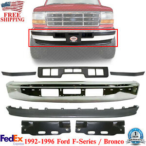 Front Bumper Chrome Face Bar Valance Kit For 1992 1996 Ford F Series Bronco