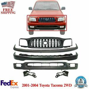 Front Bumper Kit Primed Brackets Grille For 2001 2004 Toyota Tacoma 2wd