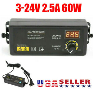 Adjustable Power Supplies 3 To 24v Ac dc Switch Power Supply Adapter W Display