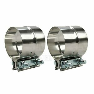 2pcs 2 Stainless Exhaust Band Step Clamps Fit Catback Muffler Pipe Silver