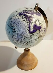 World Globe On Wooden Stand For Office Or Desk