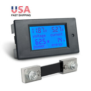 Universal Dc 6 5 100v Lcd Display Voltmeter Amp Current Power Monitor 100a Shunt