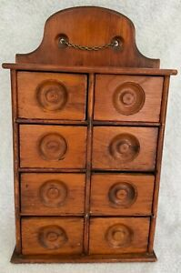 Antique Primitive All Mount Pine 8 Drawer Spice Apothecary Cabinet Exc