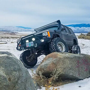 Fit For 84 01 Jeep Cherokee Xj Front Bumper W Led Lights