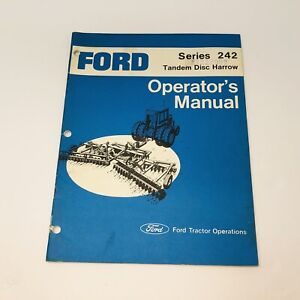 Ford Tractor Division Tandem Disc Harrow Series 242 Operators Owners Manual