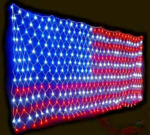 Extra Bright Usa American Flag Lights Net String Light Leds 3 X 65 Ft Outdoor