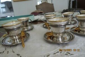 Sterling Silver Demitasse Espresso Set 8 Cups Saucers W Lenox Liners W Spoons