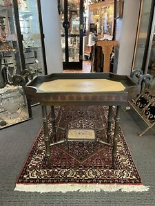 Vintage Designer Two Piece Tea Tray Table With Crackle Finish