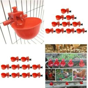 20x Bird Coop Feed Automatic Poultry Water Drinking Cups Chicken Fowl Drinker