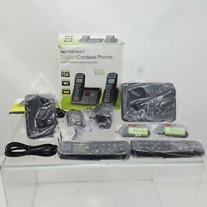 DUAL Emerson Digital Cordless Phone Dect 6.0 w Answering System Caller ID... $27.11