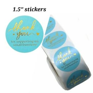 100 Pcs Thank You Stickers 1 5 Turquoise Blue Support Small Business Labels