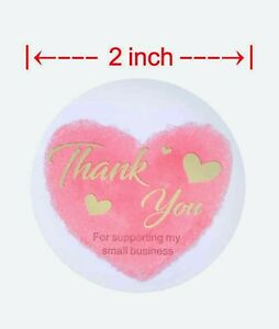 50 Pcs Thank You Stickers 2 Labels Pink Cute Envelope Sealing Shipping Packing