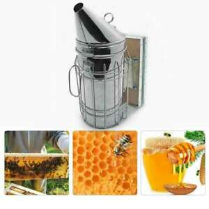 Bee Hive Smoker Stainless Steel W heat Shield Protection Beekeeping Equipment Us