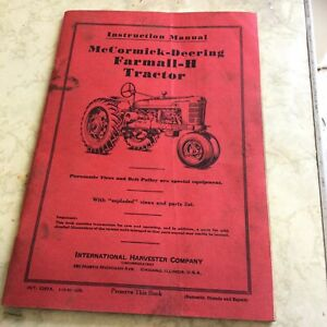 Mccormick Deering Farmall H Tractor Instruction Manual free Shippping