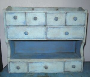 8 Drawer Painted Vintage Spice Cabinet Box Cupboard Apothecary Chest Blue Paint