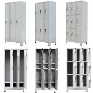 Metal Locker Storage Cabinet Cupboard With 3 6 9 Compartments Office School Gym