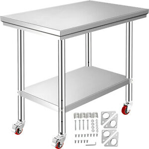 Rolling Stainless Steel Top Kitchen Work Table Cart Casters Shelving 36 x24