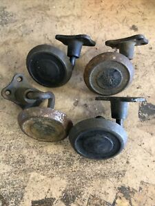 Lot Of 4 Vintage Cast Iron Roll Over Roller 3 Coaster Wheels Metal Creeper Old