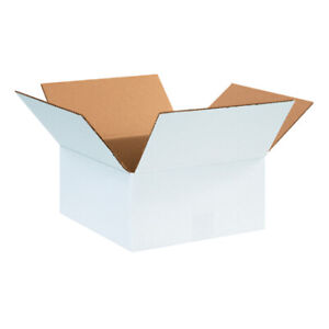 12 X 12 X 6 White Corrugated Boxes Ect 32 Shipping mailing Boxes pack Of 100