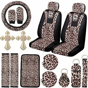 17 Pieces Leopard Car Accessories Set Includes Front Seat Cover Steering Whee