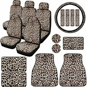 19 Pieces Leopard Print Car Accessories Cover Including Leopard Seat Cover St