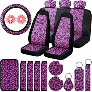 20 Pieces Pink Leopard Car Accessories Set With Leopard Car Seat Covers Leopa