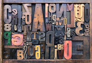 Antique Letterpress Printers Wood Type Mix 72 Pieces W Full Alphabet Numbers