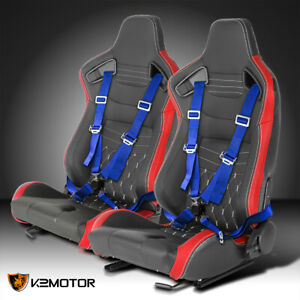 Pair Red Pvc Leather White Stitch Racing Seats Blue 4 Point Seat Belts Harness