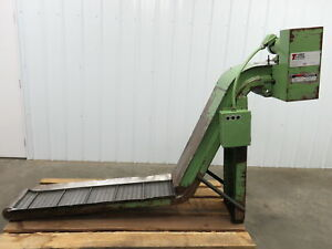 Turbo Systems Incline Cleated Chip Conveyor 12 Belt 43 discharge 6 Fpm 230 460v