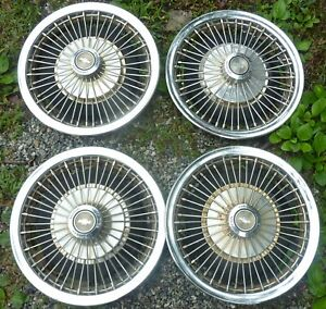1967 67 1968 68 Chevrolet Chevy Motor Division 14 Wire Wheels Hubcaps Set Oem